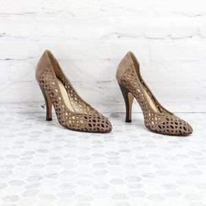 Ladies Shoes Size 7.5 Brown Suede Cut-out Design